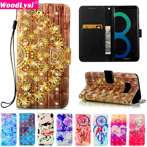 3D Vision Pattern PU Leather Case For Samsung galaxy S5 S6 S7 S8 Edge Plus J3 J5 J7 A3