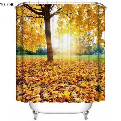 3D forest shower curtain beautiful bathroom curtains tree bath curtains Polyester tropical
