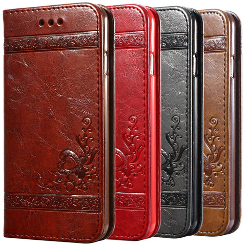 5 5S 6s Luxury Flip Leather Case For iPhone 6 6s 7 Plus 3D Wallet Coque + Silicone Back