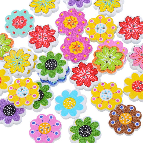 50PCs Whole Natural Wooden Buttons Colorful Mixed Flowers Wave Edge Scrapbook Sewing