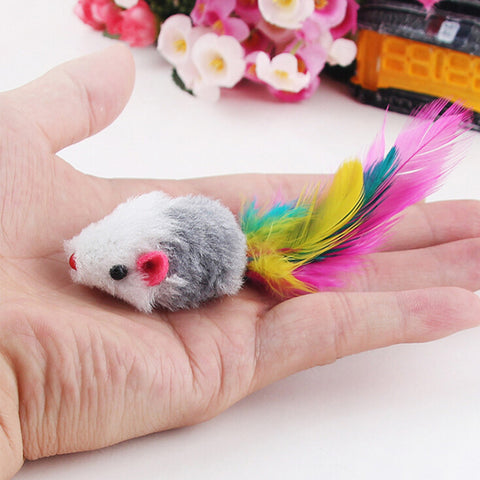 50pcs/lot Funny False Mouse Rat Toys for Cats Kitten Pet Colorful Plush Mini Mouse Toys