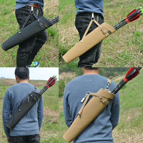 52*13cm Arrow Quiver in Black/Yellow Color Shoulder-back Design Made of Pure Leather for