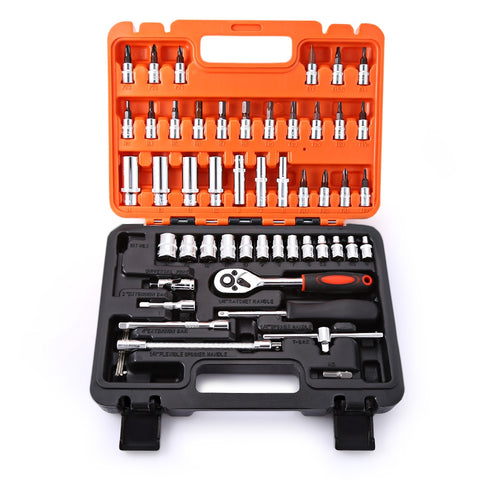 53pcs Automobile Motorcycle Repair Tool Case Precision Ratchet Wrench Sleeve Universal