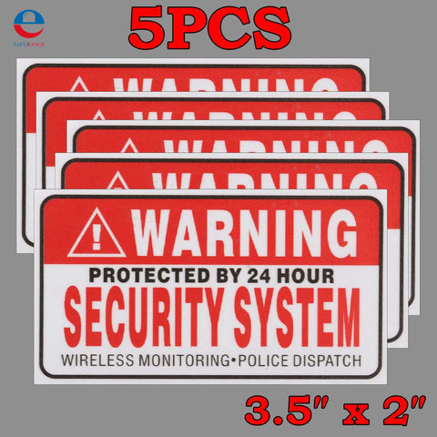 5Pcs/Set Warning Protected by 24 Hour Security System Stickers Saftey Alarm Signs Decal