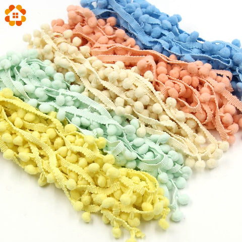 5Yards/Lot Hot Sale 10MM Pom Pom Trim Ball Fringe Ribbon DIY Sewing Accessory Lace 17