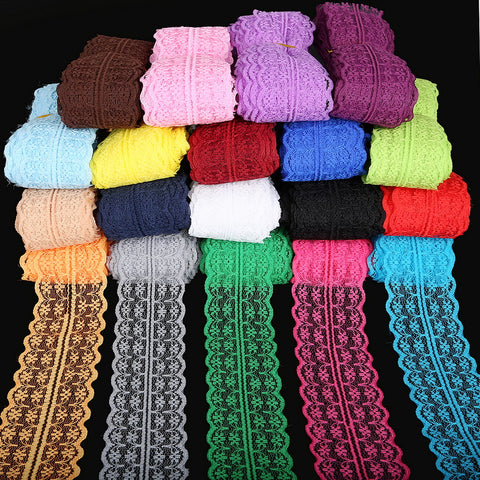 5yards/lot 19 Colors Lace Ribbon Tape 45MM Lace Trim Fabric DIY Embroidered Net White Lace