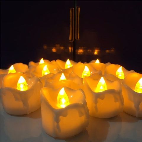 6pcs Yellow Flicker Battery Candles Plastic Led Candles Flameless Night light For
