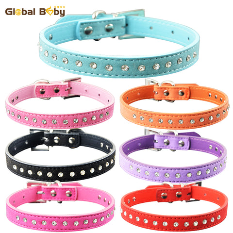 7 Colors 4 Sizes Protective Soft Suede One Row Diamond Dog Pet Cat Puppy Small Collar .