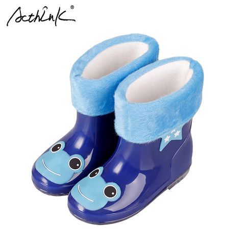 Boots for Boys ActhInK New Design Kids Cartoon Rainboots Baby Girls Antiskid Wellies with Cotton Velvet