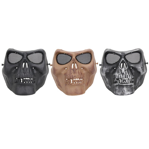 Adjustable Strap Creepy Horror Skull Half Mask For Outdoor Sports Face Protector ISP .