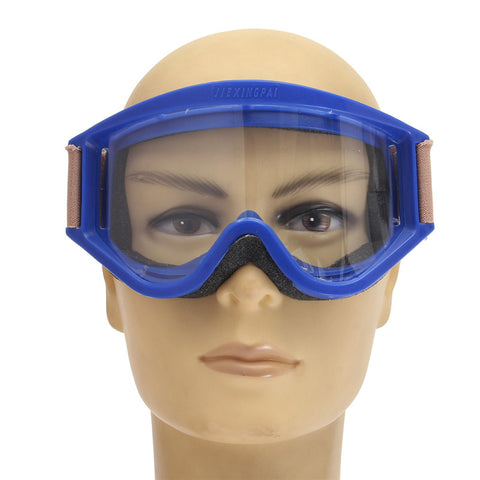 Adjustable Unisex Working Labor Safety goggles Glass Anti-chemical Anti Sling Blue Frame .