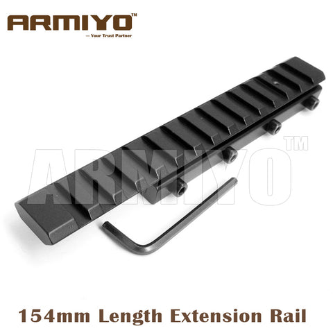 Armiyo 154mm Length Dovetail 11mm Extension to 20mm Picatinny Rail Adapter Mount Fixed