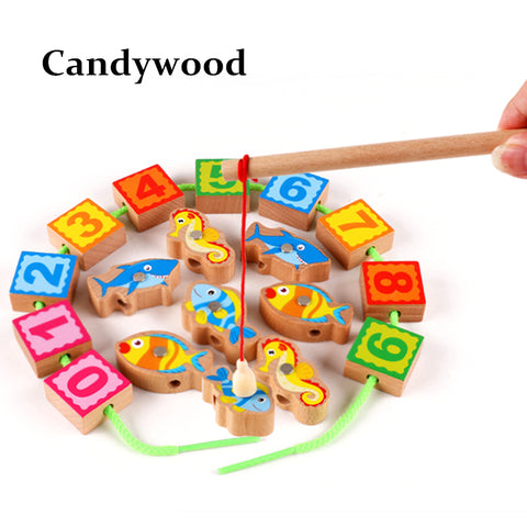Beech Wood Wooden Toy Kids Magnetic Fishing Toy Set Digital Beads Children Educational