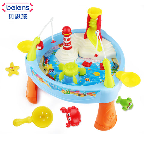 Beiens DIY Fishing Toy Games Fishing Plastic Toy Magnetic Kids Toy Fish Pool Gift