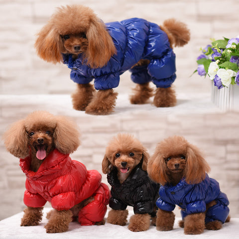 Blue Black Red Concise Pet Clothes Winter Dog Jumpsuit Rompers Coat For Small and Large