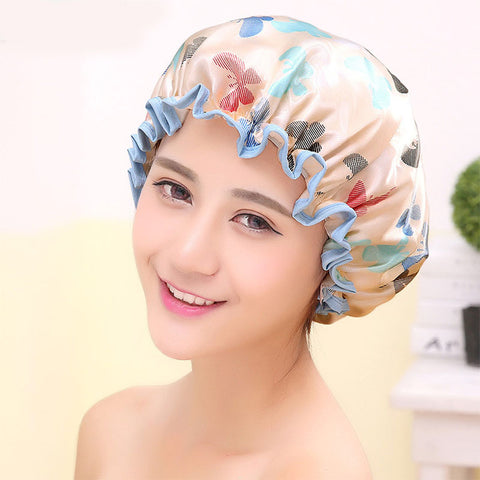 Butterfly Women Shower Cap Waterproof Shower Hair Cap Double Layer Bathing Cap .