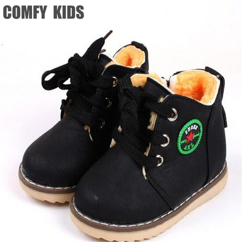 Boots for Boys COMFY KIDS Winter Warm Child Snow Boots Shoes Spring Autumn Girls Boys Boots Flat With