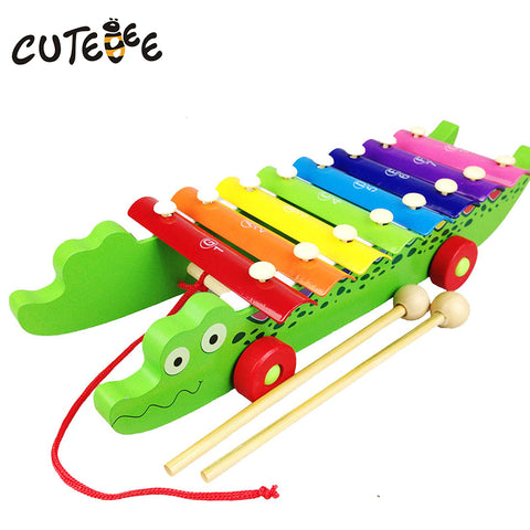 CUTEBEE Wooden Crocodile Xylophone Musical Instrument Montessori Educational Toys for