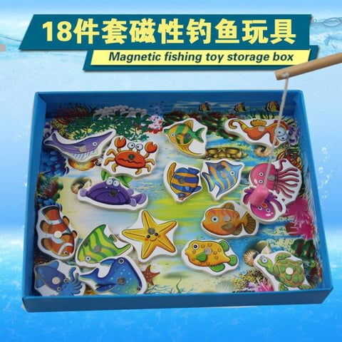 Candice guo wooden magnetic fishing toy storage box wood puzzle fun game ocean sea