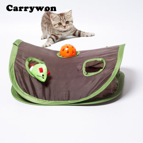 Carrywon Multifunction Pet Cat Toy Kitten Interactive Play Toys With Bell Mouse Folding