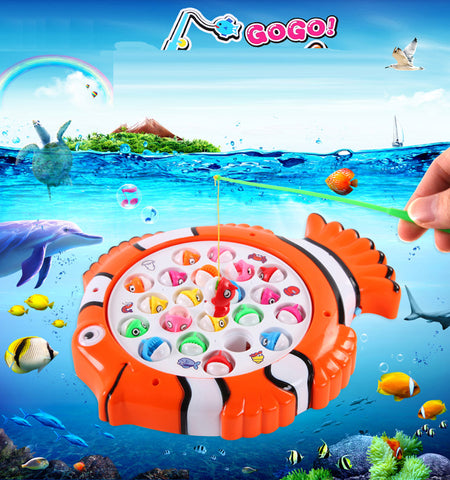 Cartoon Fishing toy Electric Rotating Fishing Toys Kid Children Educational Learning Toy
