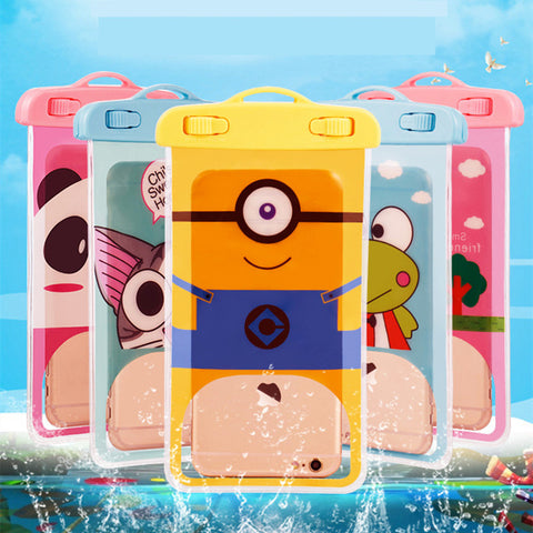 Cartoon Minions Cute Waterproof Pouch Universal Phone Bags with Lanyard Swimming Case