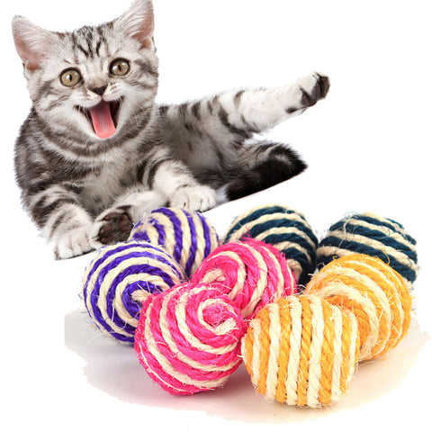 Cat Pet Catch Chewing Toy Sisal Rope Weave Ball Teaser Play Rattle Scratch Pet Toy Product