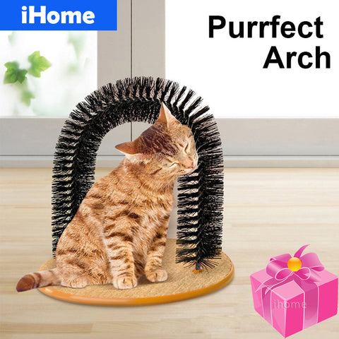 Cats Massage Arch Pet Cat Self Groomer With Round Fleece Base Cat Toy Brush Toys For