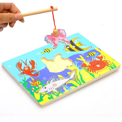 Children Educational Fishing Puzzles Baby Toys Wooden Magnetic 3D Jigsaw Funny Game Toy