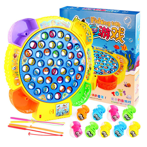 Children's Classical Fishing Toys Set Electric Rotary Music Fishing Set Baby Puzzle Toys