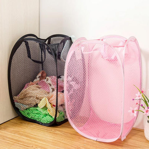 Clothes holder Basket Cheap New Portable folding dirty clothes holders nylon net cloth .