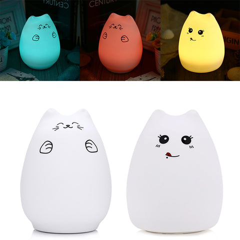 Creative Cute Cat LED Night Light For Children Baby Kids Multicolor Silicone Bedside