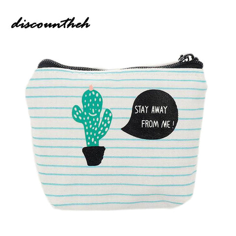 Cute Canvas Coin Bag Cactus The Swing Holder Purse Small Zipper Wallet Card Purse Zip
