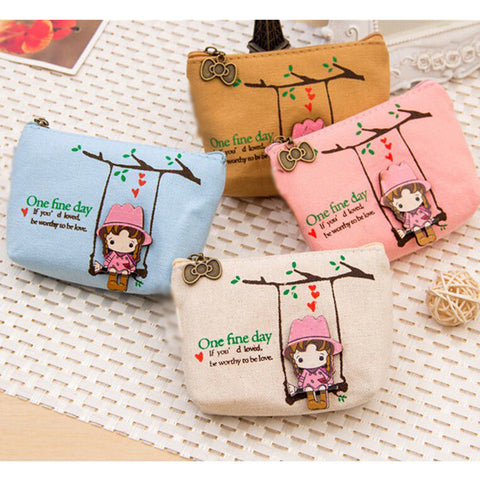 Cute Canvas Coin Bag Lovely Girls The Swing Holder Purse Small Zipper Wallet Card Purse