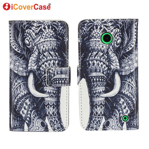 Cute Elephant Leather Wallet Cases For Nokia Lumia 630 Flip Case Cover Phone Etui Capinhas