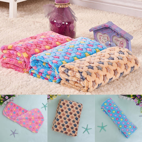 Cute Floral Star Print Pet Warm Mat Cat Dog Puppy Fleece Soft Blanket Beds Mat for Small