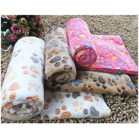 Cute Footprint Pet Sleep Mat Dog Cat Blankets Fall Winter Blanket Warm Microfiber Dog
