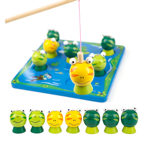 Cutebee Wooden Toys for Children Montessori Fishing Toy Magnetic Frog Parent-Child