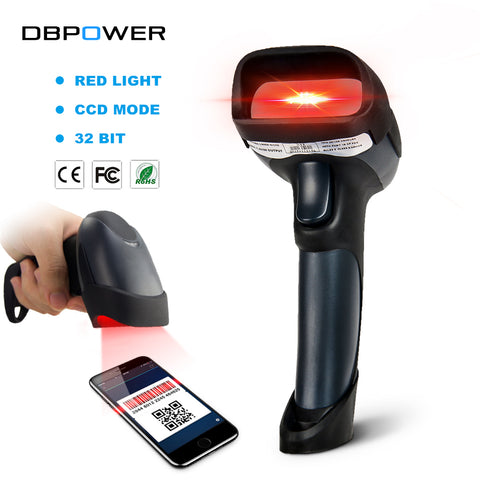 DBPOWER Wired USB Barcode Scanner Bi-directional CCD Red Light 1D Scanner Gun 200times/s