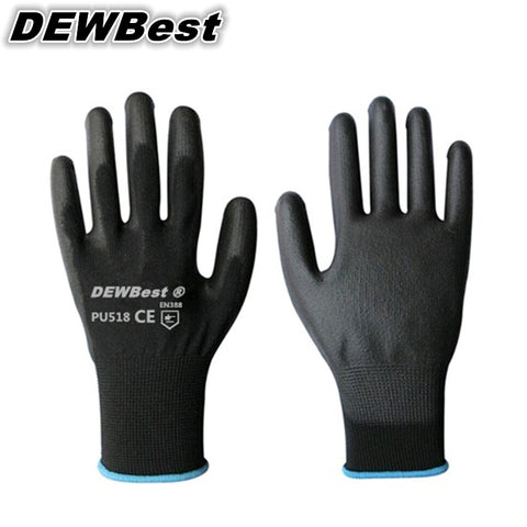 DEWBest PU518 design Cheap Price 13G black PU Work Gloves Palm Coated ,working