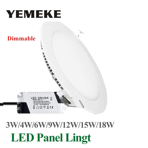 Dimmable LED Panel Light Ultra Thin Ceiling Recessed Downlight 3w 4w 5w 6w 9w 12w 15w