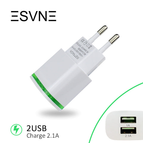 ESVNE 2 USB Charger 5V 2.1A EU Plug USB adapter Wall Mobile Phone Charger for iPhone 5 6 7