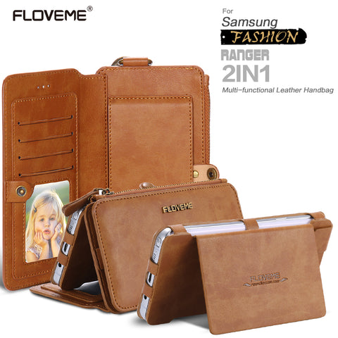 FLOVEME Classical Retro Leather Phone Case For Samsung Galaxy NOTE 3 4 5 / S7 / S6