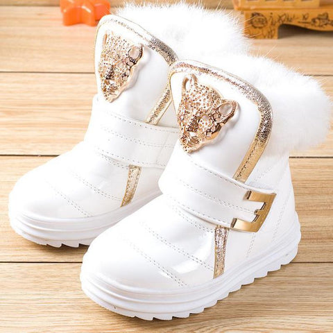Boots for Girls Fashion Children Boots Rabbit Fur Girls Snow Boots Waterproof PU Plush Booties Female