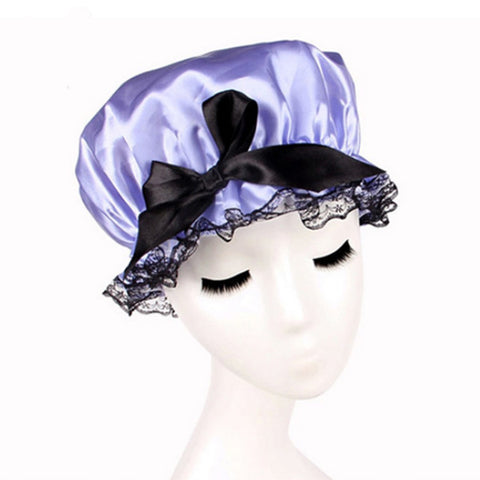 Fashion Women Solid Color Satin Shower Hat Waterproof Shower Cap Bathing Cap .