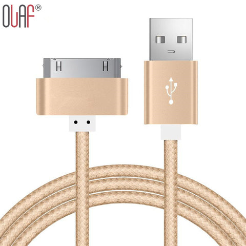 Fast 30 Pin Golden Braided Nylon Sync Data fast Charging Cable For iPhone 4 4s Metal