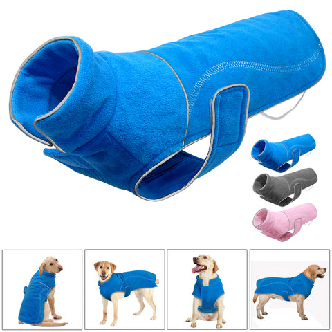 Fleece Dog Clothes Clothing Reflective Warm Winter Vest Jacket For Small Medium Large Dogs