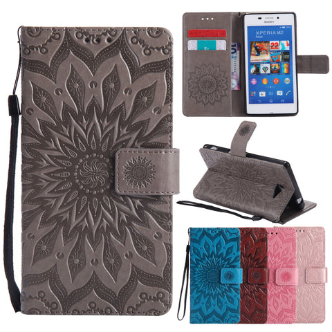 Flip Leather Case sFor Fundas Sony M2 case For coque Sony Xperia M2 S50h Dual D2302