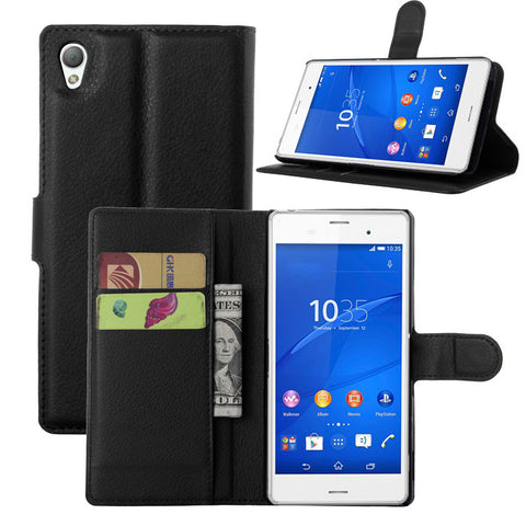 Flip PU Leather Wallet Case for Sony Xperia Z Z1 Z2 Z2A Z3 Z4 Z4V Z5 Premium Compact