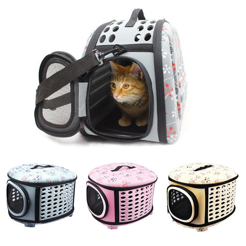 Foldable EVA Pet Carrier Puppy Dog Cat Outdoor Travel Bag Small Pet Sided Carrier for Dogs